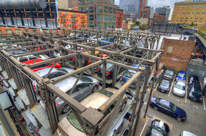 Parking lot viewed from the HIgh Line in New York City.